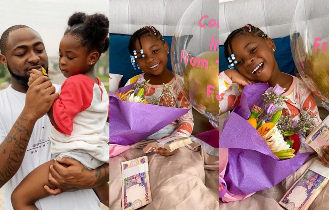 Davido's daughter Imade gets cash gift, chocolate from Tooth fairy as first tooth falls off 5ominds