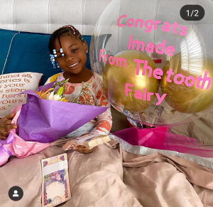 Davido's daughter Imade gets cash gift, chocolate from Tooth fairy as first tooth falls off 5ominds 5ominds