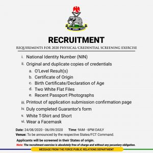 Image Source: https://twitter.com/saintabdul?s=09 date and venues for the nigeria police 2020 recruitment physical screening exercise - IMG 20200821 075340 300x300 - Date and Venues For The Nigeria Police 2020 Recruitment Physical Screening Exercise date and venues for the nigeria police 2020 recruitment physical screening exercise - IMG 20200821 075340 300x300 - Date and Venues For The Nigeria Police 2020 Recruitment Physical Screening Exercise