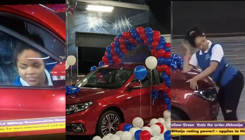 #BBNaija: Moment Nengi jumped into the front sit after Ozo won a 2020 Innoson Caris whip (Video) 5ominds