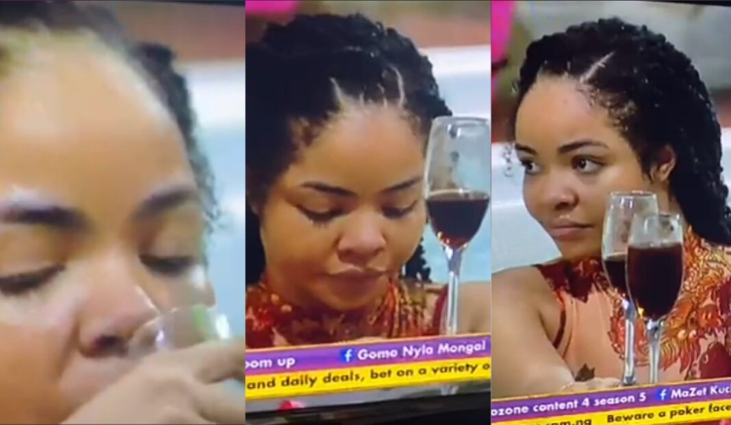 BBNaija: We move! Nengi spotted sipping wine and swimming excitedly after shortly crying over Ozo's eviction 5ominds