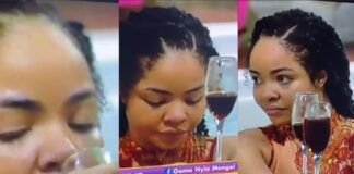 BBNaija: We move! Nengi spotted sipping wine and swimming excitedly after shortly crying over Ozo's eviction