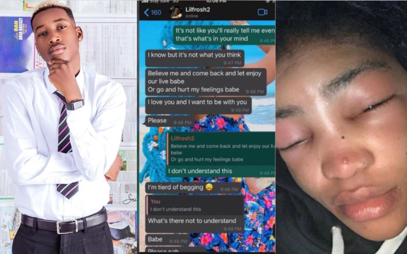 Check out WhatsApp conversation of Lil frosh Begging his girlfriend after beating her up 5ominds