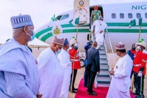 Buhari returns to Nigeria after two weeks medical trip to UK president muhammadu buhari - 20210413 154457 300x200 - Medical Trip: Buhari returns to Nigeria as Abuja House protesters suspend peaceful protest